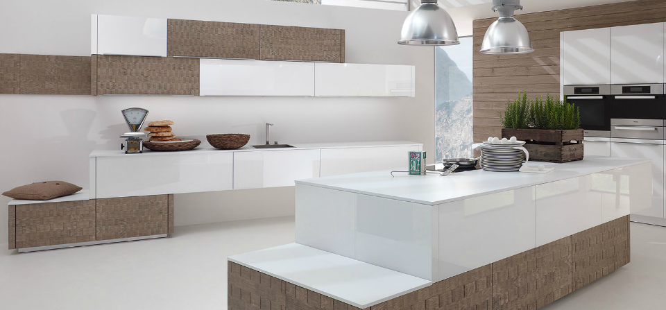 alno kitchen design european kitchen alnosplit in the vintucina shingle handmade wood veneer finish combined with alnovetrina glass white finish
